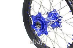 KKE 21/18 Spoked Wheels Rim Set Fit Suzuki DRZ400 DRZ400S/E DRZ400SM Blue Nipple