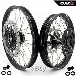 KKE 21/19 Mx Wheels Rims Set Fit Suzuki DRZ400SM 2005-2019 310mm Disc Black Hub