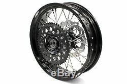 KKE 3.5/4.2517 FIT SUZUKI DRZ400SM Supermoto Motard Wheels Rims Set Black Disc