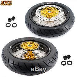 KKE 3.5/4.2517 Supermoto Wheels Rims Set CST Tire Fit SUZUKI DRZ400SM 2005-2019
