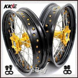 KKE 3.5/4.25 Supermoto Wheels Rim Set For SUZUKI DRZ 400 400S DRZ400SM 400E Gold