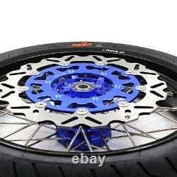 KKE 3.5/4.25 Supermoto Wheels Set Fit Suzuki DRZ400SM 2005-2020 CST Tires Blue