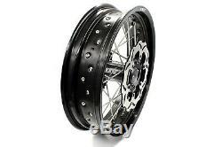 KKE 3.5/5.017 Fit SUZUKI DRZ400SM Supermoto Motard Wheels Rims Set Black Disc