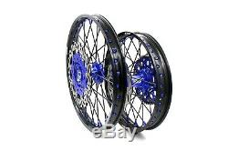 KKE DRZ400SM 2005-2019 21/18 Enduro Wheels Rims Set Fit SUZUKI 310mm Black Spoke