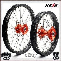 Kke 17/14 Spoked Kid's Small Wheels Rims Set For Ktm85 Sx 2003-2018 Orange Hubs