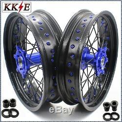 Kke 17 Inch Supermoto Wheels Set Fit Suzuki Drz400 Drz400s/e Drz400sm Blue/black