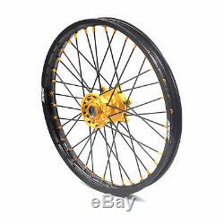 Kke 21/18 Ednuro Wheels Set Fit Suzuki Drz400s Drz400sm Drz400e Gold/black Spoke