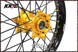 Kke 21/18 Wheels Rims Set For Suzuki Drz 400 400e 400sm Drz400s Gold/black 2018