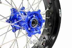 Kke 3.5/4.2517 Supermoto Wheels Rims Set Fit Suzuki Drz400sm Drz400s/e Blue Hub