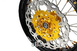 Kke 3.5/4.25 Supermoto Wheels Set For Suzuki Drz400sm 05-18 310mm Gold Nip Disc