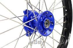 Kke Small 17/14 Kid's Wheels Set Fits Yamaha Yz80 1990-2001 Yz85 2002-2018 Blu