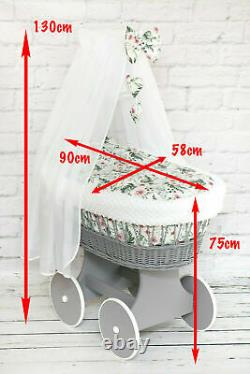 Luxury Wicker Moses Basket Full Set Wheel Baby Full Dimple Bedding Set Canopy