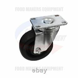 SET OF 16 High Temperature Oven Casters. 4 Wheel x 1-1/2 Wide. Small Plate