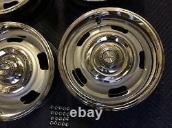 SET OF (4)1967 CHEVY 15x6 CORVETTE IMPALA CAMARO SMALL DC RALLY WHEELS RESTORED