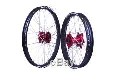 SM Pro Platinum 19 21 MX Motocross Wheel Set Red Black Honda CRF