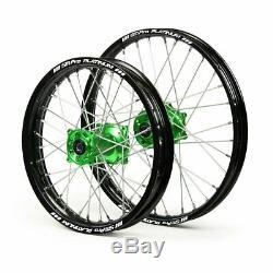 SM Pro Platinum Kawasaki Wheel Set 19 21 Motocross Green Black KX 125 150 250
