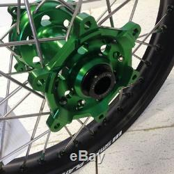 SM Pro Platinum MX Green Black Wheel Set Kawasaki KXF 250 450