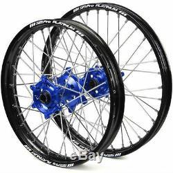 SM Pro Platinum MX Motocross Wheel Set Yamaha Black Blue Silver YZF 250 450
