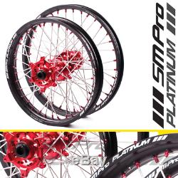 SM Pro Platinum MX Wheel Set Suzuki RMZ 450 05-19 21/19 Red Hub/Black Rim/Re