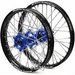 SM Pro Platinum Motocross Blue Black Wheel Set 19 21 Yamaha YZ 125 150 250