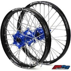 SM Pro Platinum Motocross Wheel Set Yamaha Blue Silver- YZ 125/250 07-Current