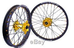 SM Pro Platinum Motocross Wheels Set Black Yellow Suzuki RMZ 250 450