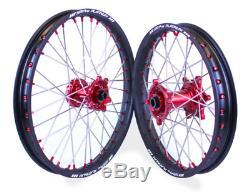 SM Pro Platinum Wheels Set Black Red Gas Gas EC Enduro Models