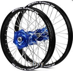 SM Pro Wheels Set Back Rims Blue Hubs YZ YZF 125 250 450 07-19 WRF 2020