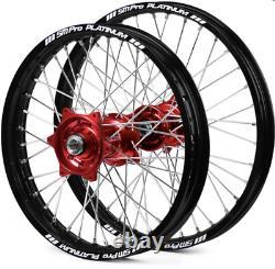 SM Pro Wheels Set Back Rims Red Hubs Honda CR 125 250 02-07 CRF250 450 2002-2020