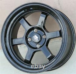 Set(4) 15 Mst Timeattack Black Wheels 15x8 4x100 +0mm Integra Miata Xb CIVIC