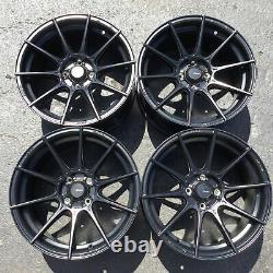 Set 4 16x9 Advanti Racing Storm S1 Black 4x100 Wheels +45mm Rims