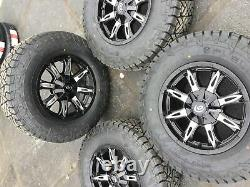 Set 4 17 Wheels/Tires Vision Manic Black with Fuel Gripper AT 265/70R17