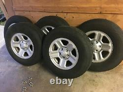 Set of 5 Jeep Wrangler Silver Wheels Rims on GOOD YEAR WRANGLER Tires P225/75R16