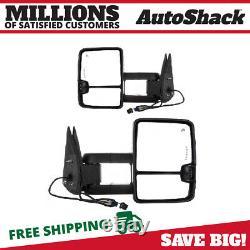 Side View Mirror Tow Power Heated Signal Black Pair 2 for GMC Sierra 1500 Yukon