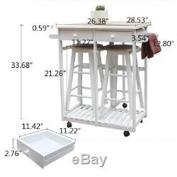 Small Kitchen Folding Dining Cart Chairs Set Island 2 Stools Trolley Wheels New
