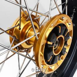 Supermoto Wheel Set For Suzuki DRZ400 DRZ 400 17 DRZ400SM 2000-17 Gold