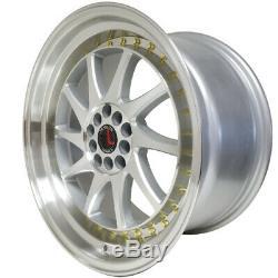 TRAKLITE TURBO 5x100 / 114.3 17x9 Silver Machined Wheels Stance Rims (set of 4)