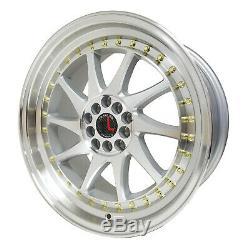 TRAKLITE TURBO 5x100 / 114.3 18x8.5 Silver Machine Wheels Stance Rims (set of 4)