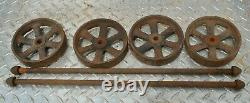 Vintage Small 6 Spoke Cast Iron Wheel Set For Gas Engine Hit Miss Truck
