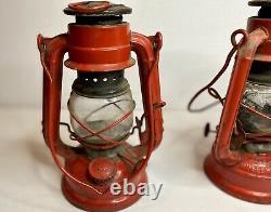 Vintage Winged Wheel NO. 350 Japan Made Red Lantern Clear Globe Original Set 2