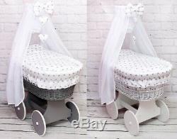 Wicker Wheels Moses Basket Baby Full Bedding Set Canopy Drape Bow Hearts White