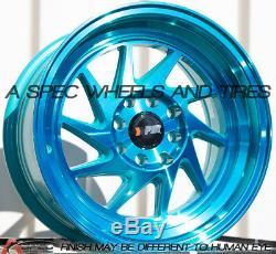 15x8 F1r F07 4x100 / 114,3 +25 Machine Teal Wheels (set Of 4)
