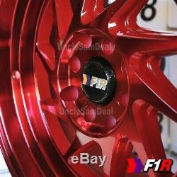 16x8 +25 4x100 / 114,3 F1r F07 Machine Rouge 2 Étape Lip Lame De Tuner 4 Roues Set