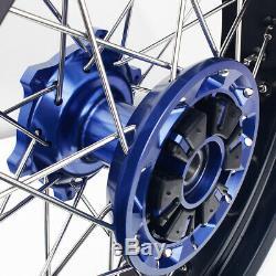 17 & 17 Supermoto Complet Jantes Set Moyeux Rotors Bleu Suzuki Drz400sm 05-17