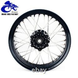 17&17 Supermoto Spoked Wheel Set Rims Hub Cush Drive Drz400sm 2005-2017 Noir