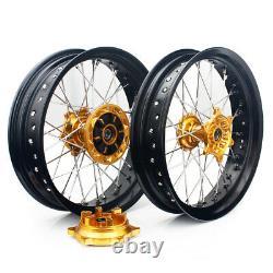 17 Rotors Supermoto Wheel Rim Hub Set Cush Drive For Suzuki Drz400sm 2005-2017