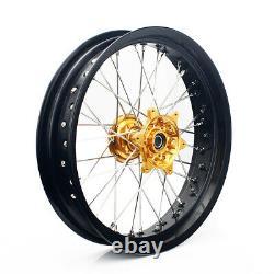 17 Supermoto Wheels Set Cush Drive Pour Suzuki Dr-z 400e 400s Drz400sm Gold Hubs