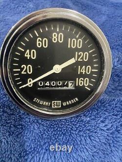 1960 Stewart Warner Mechanical Speedometer Gauge 3-3/8 160mph Vintage