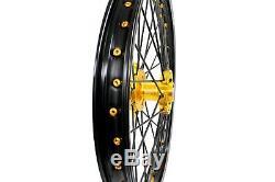 21/18 Cnc Enduro Jeu De Roues Pour Suzuki Drz400sm F & R Disques 48t Hub Or Sprocket