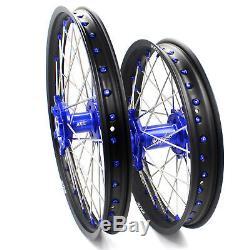 21/18 Enduro Kke Roues Jantes Set Suzuki Drz400 Drz400sm Drz400e Drz400s Bleu